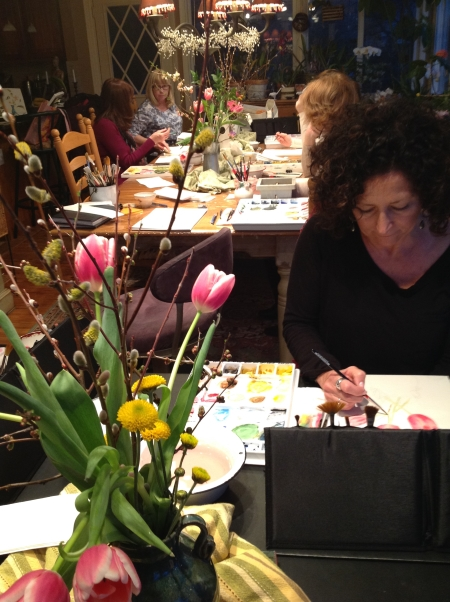 Watercolor Painting Class at Home Art Studio
